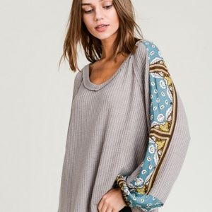 Waffle Knit Floral Contrast Bubble Sleeve Top Moch